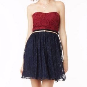 Delia's strapless lace dress